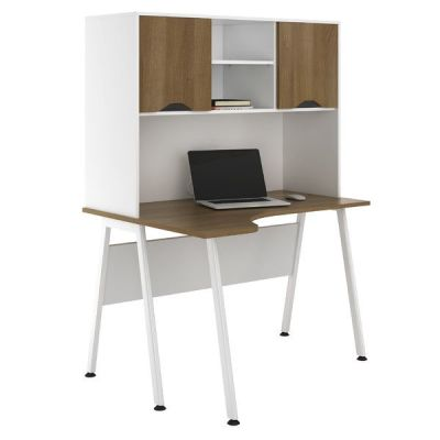 Aspire Sylvan Corner Desk With Overhead Cupboard Walnut