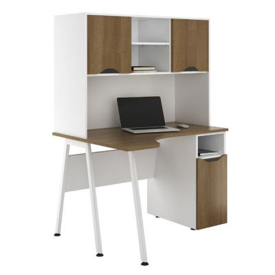 Aspire Sylvan Corner Cupboard Desk With Overhead Cupboards Walknut Finish
