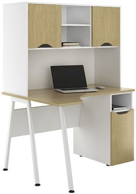 Aspire Sylvan Corner Cupboard Desk With Overhead Storage 2