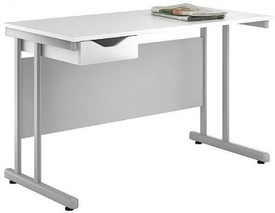 Uclic Create Pedstal Desk With High Gloss White Drawer Front
