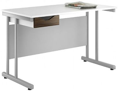 UCLIC Create Reflections Single Drawer Desk With A Dark Olive Drawer Front
