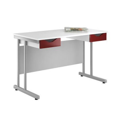 Uclic Create Reflections Double Drawer Desk With High Gloss Burgundy Drawer Fronts