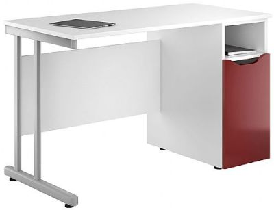 Uclic Create Desk With High Gloss Burgundy Door