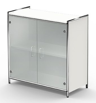 Low Glass Door Cupboard White Carcass