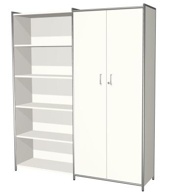Artoline Cupboard And Bookcase Combination In White