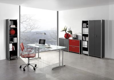ARTLINE Office Layout Glass-rot-anthracite