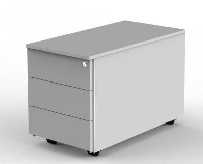 Modem Three Drawer Pedstal Light Grey