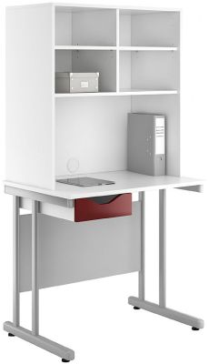 Uclic Create Single Drawer Desk And Overhhead Storage With Gloss Burguindy Drawer Dfront