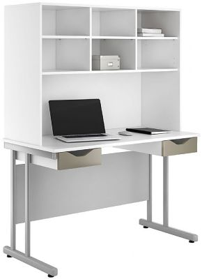 UCLIC Double Darwer Desk With Overhead Storage And Drswer Fronts In Stone Finish