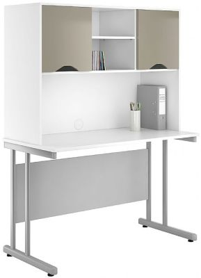 UCLIC Create Desk With Overhead Storage And Doors With STONE FINISH