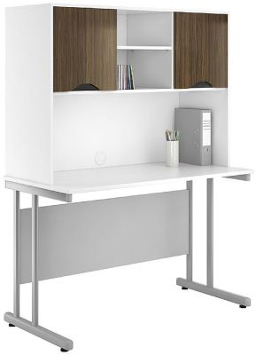 UCLIC Desk With Overhead Cupboards And Dark Olive Doors