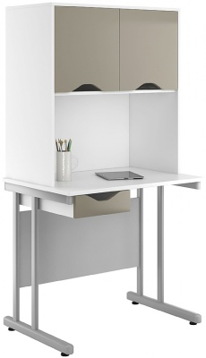 UCLIC Single Drawer Desk With Ojverhead Cupboards And Drawer Front With A Stone Finish
