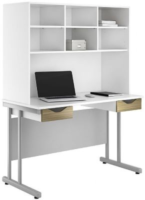 UCLIC Create Desks With Two Darwers And Overhead Cupboard In Light Olive