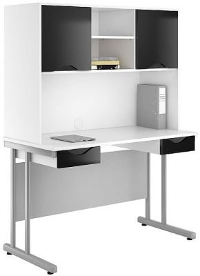 UCLIC Create Two Drawer Desks And Overhead Cupboard In Black Gloss