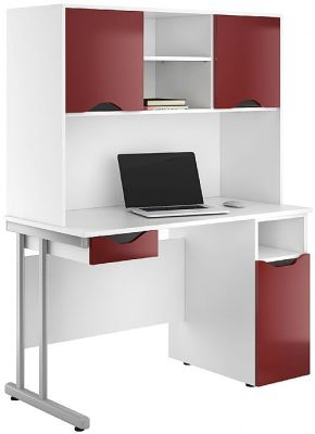 Uclic Create Desk With Cupboards Doors And Drawer Front In High Gloss Burgundy