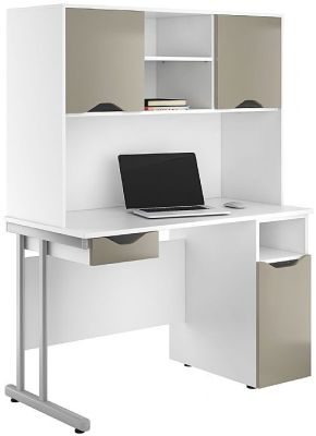 Uclic Create Desks With Drawer Front And Doors In Stone Finish