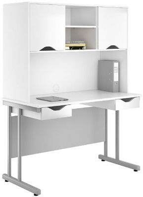 UCLIC Create Desks With Overhead Cupboard And Two Drawers In High Gloss White