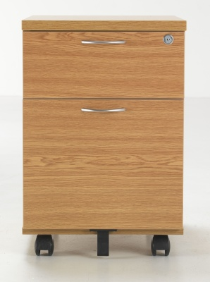 Flite Two Drawer Mobiel Pedestal Oak Finish Front Shot