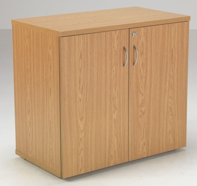 Flite Low Double Door Cupboard In Oak Front Angle
