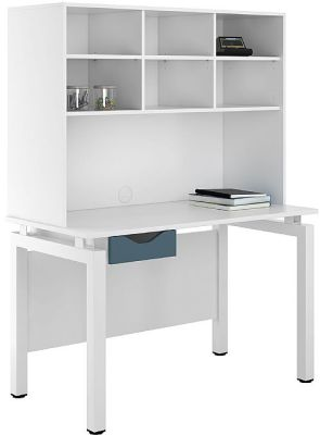 UCLIC Engage Desk With Steel Grey Drawer And Overhead Storage