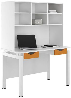 UCLIC Engage Desk With Two Dawerts And Overhead Storage Orange Drawers