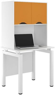 UCLIC Engage Desk With Overhead Cupboard And Orange Doors