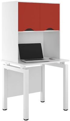 UCLIC Engage Desk With Overhead Storage And Red Doors