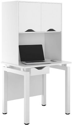 UCLIC Engage Bench Desk With Single Drawer And Overhead Cupboard In White