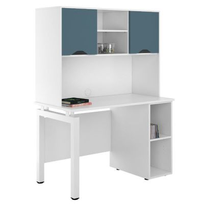 UCLIC Engage Pedestal Desk And Overhead Cupboards In Steel Blue