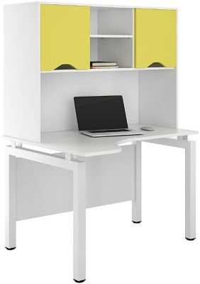 UCLIC Engage Corner Desk With Overhead Cupboard With Doors In Peach Yellow