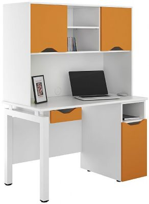 UCLIC Cupboard Desk With Drawer And Overhead