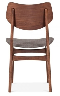 Detroit V2 Dining Chair Light Grey Fabric Rear View