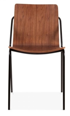 Denver Dining Chair With A Black Frame And Walnut Shell Front Shot