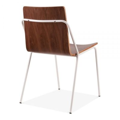 Denver Chair Walnut With A White Frame Rear Angle View
