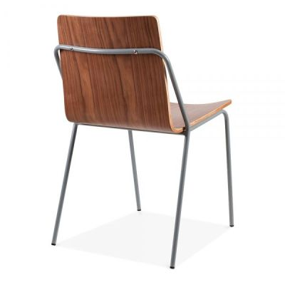 Denver Chair Walnut Shell With A Grey Frame Rear Angle Shot