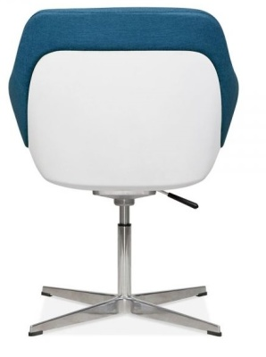 Mexico Lounge Chair Blue Fabric Rear View