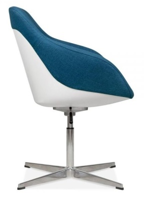 Mexico Lounge Chair Blue Fabric Side View