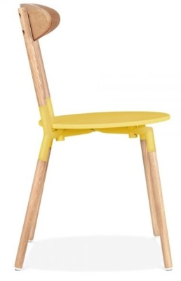 Odense Dining Chair With A Yellow Seat Side View