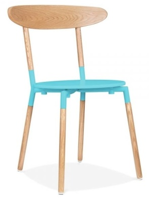 Odense Dining Chair Light Blue Seat Front Angle