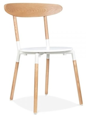 Odense Chair White Seat Front Angle