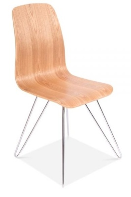 Bennie Chair With A Natural Shell And Hairpin Legs Front Angle View