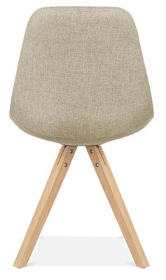 Pyramid Chair In Beige Fabric With Natural Legs Rear View