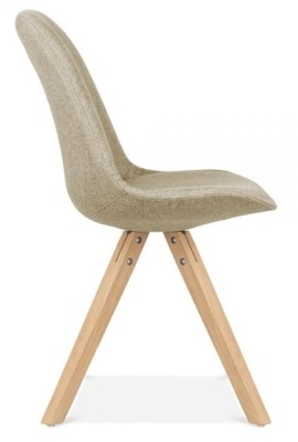 Pyramid Chair With Natural Finish Legs And Beige Fabric Side View
