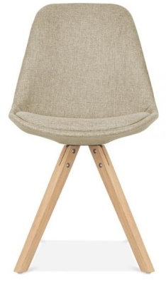Pyramiod Chair In Beige Fabric With Natural Legs Front View