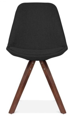 Pyramid Chair Black Fabric With Walnut Legs Front Shot