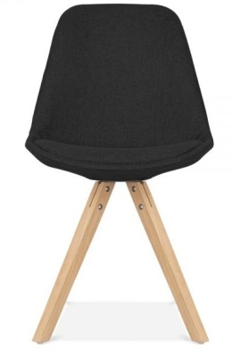 Pyramid Chair In Black Fabric With Natural Legs Front View