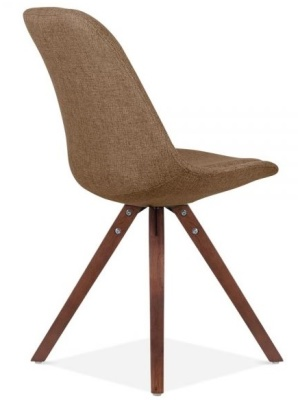 Pyramid Chair With Brown Upholstery And Wealnut Legs Rear Angle