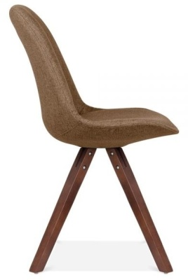 Pyramid Chair In Brown Fabric With Ealnut Legs Side View