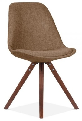 Pyramid Chair In Brown Fabnric With Walnut Legs Front Angle