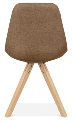 Pyramid Chair In Brown Fabric With Natural Legs Rear View